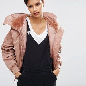 ASOS Design Pink Bomber Jacket with Faux Fur Hood